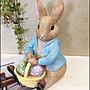 比得兔系列 鄉村風兔子手拿提籃彩蛋擺飾品 波麗製比的兔手繪藍色衣服兔撲滿存錢筒公仔裝飾品收藏生日送禮品【歐舍傢居】