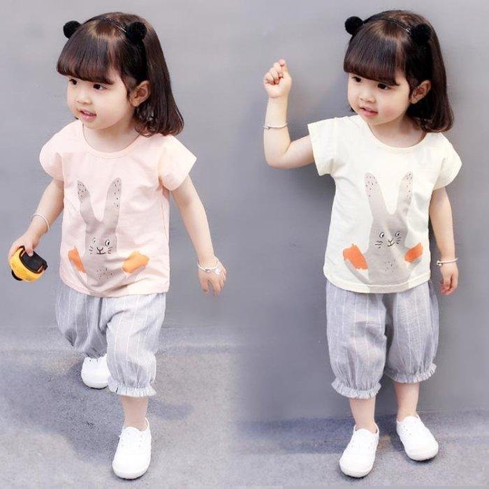 999女童套裝夏裝新品新款嬰兒童裝女寶寶小童短袖短褲兩件套1-2-3歲401KK12
