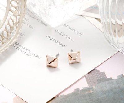 耳環 幾何方塊耳環♥玫瑰金♥