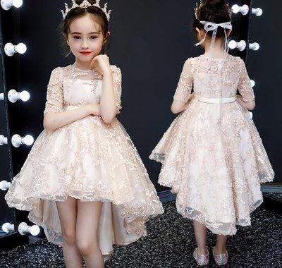 女童洋裝 兒童禮服 公主裙 走秀花童鋼琴演出服 女童婚紗裙 拖尾主持人晚禮服 生日禮物 莎芭