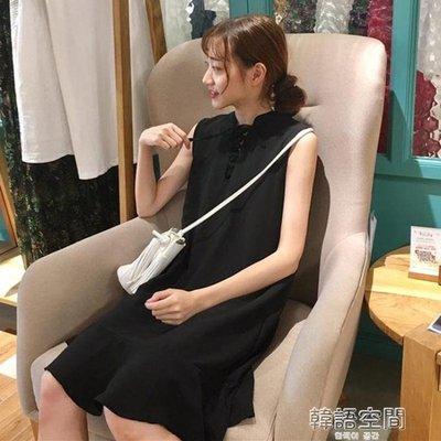 夏裝女裝韓版氣質小清新領口繫帶中長款無袖背心裙洋裝顯瘦長裙