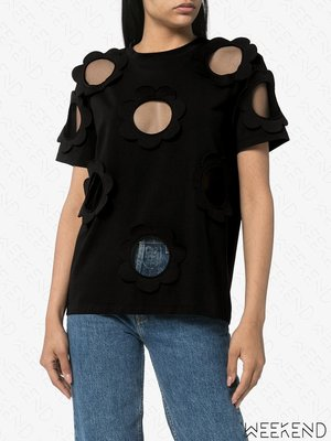 【WEEKEND】 折扣 VIKTOR & ROLF 拼接 透紗 透視 短袖 上衣 黑色