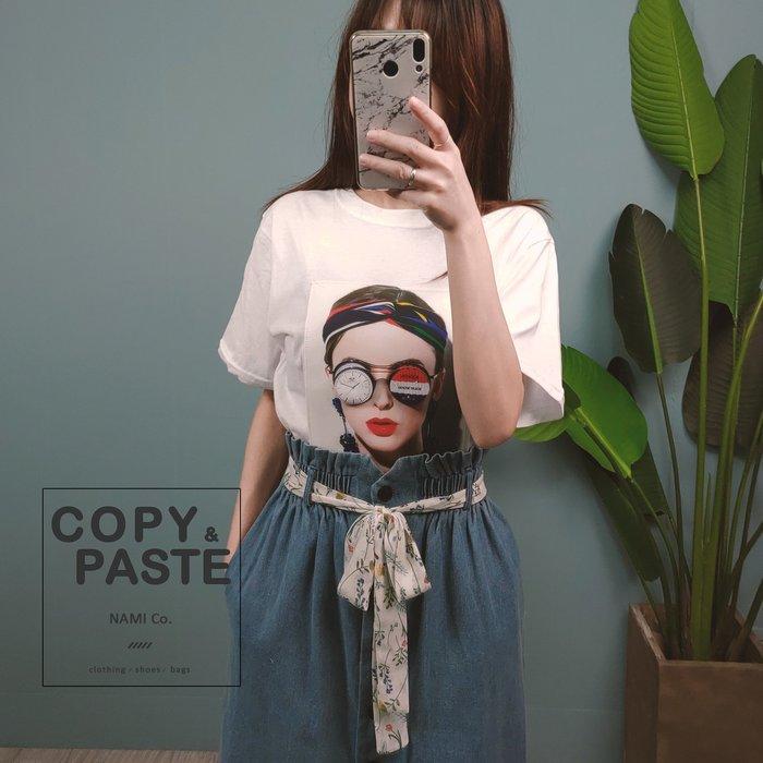 Copy&Paste【現貨】韓製.立體3D眼鏡歐美髮帶紅唇女孩短袖T恤上衣 白色 韓國設計款 休閒寬鬆 新品特價 實拍
