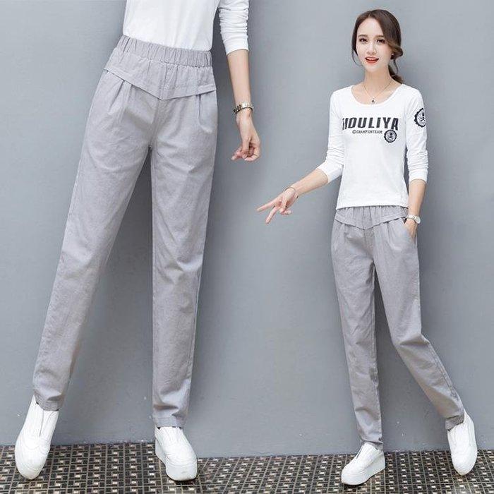 素色棉麻休閒長褲女鬆緊腰哈倫褲(3色 S-3XL)