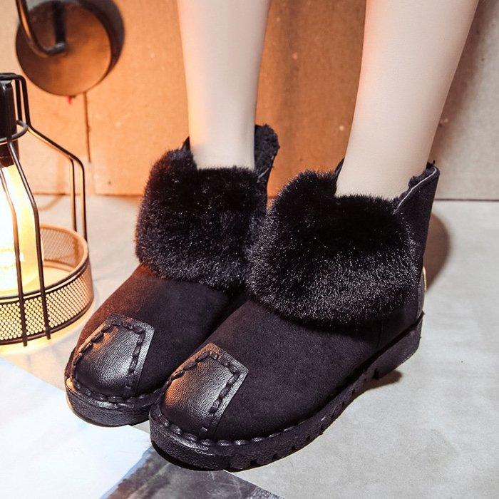 【高質感】雪地靴2018冬季新款韓版女靴子絨面拼色雪地靴女圓頭套腳保暖平底棉靴女韓版