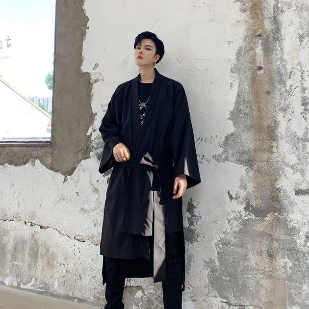 FINDSENSE 2019 秋冬上新 G19  不對稱風衣寬鬆蝙蝠袖長大衣男裝百搭寬鬆休閒外套