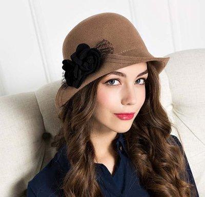 新款秋冬新品 減齡俏皮優雅 怎麼戴都好看毛氊帽禮帽秋冬女帽