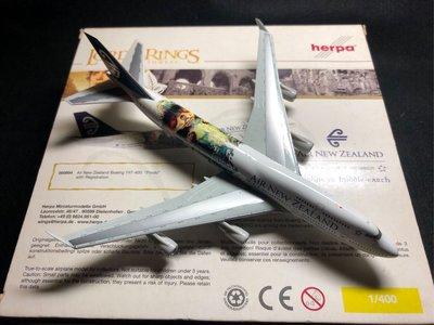 Herpa 紐西蘭航空 B747-400 魔戒系列彩繪 1/400 飛機模型