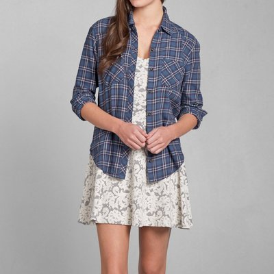 @小凸媽媽@Abercrombie & Fitch 【全新真品現貨在台S號】BENNI FLANNEL 麋鹿女法蘭絨襯衫