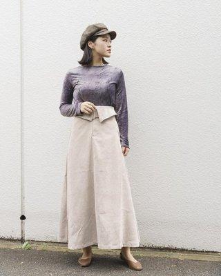 腰帶翻折設計半身裙 - Mellowest 梅洛選物