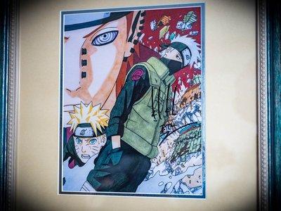 岸本齊史 親筆簽名 火影忍者 作者 附日本美術研究所鑑定證明書 卡卡西 培英 鳴人 非佐助 GEM Tsume 曉