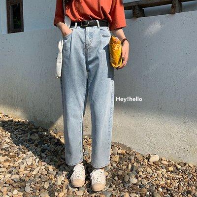 (現貨)韓國春夏高腰活摺bf風直筒寬鬆牛仔長褲