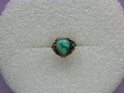 西藏老戒:鑲藍色綠松石6