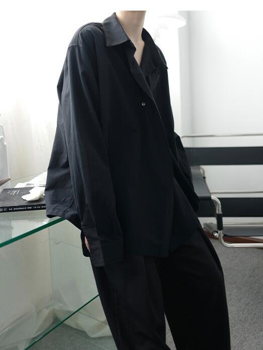 FINDSENSE X  男士 長袖寬松 休閑 廓形壹粒扣簡約襯衫