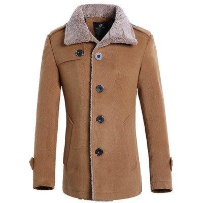 男西裝外套外貿大碼男士中長款休閑呢料大衣外套 加絨保暖呢外套FY628風衣