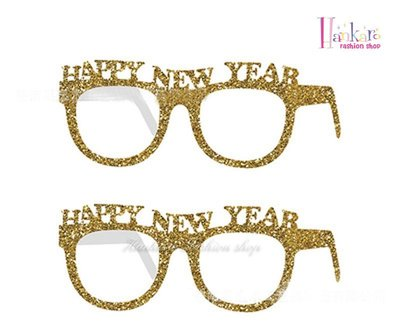 ☆[Hankaro]☆ 歐美創意婚慶派對用品拍照道具新年派對紙眼鏡10件組