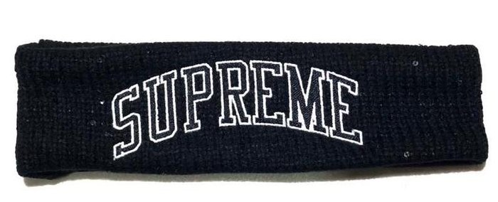 全新商品 SUPREME 18FW SEQUIN ARC LOGO HEADBAND 運動 頭戴 頭巾