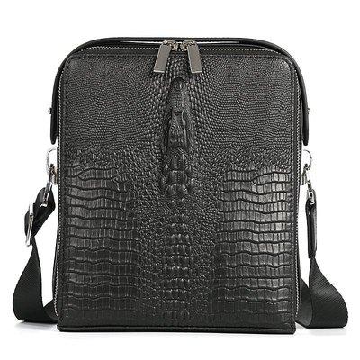 【包妳喜歡】最新真皮男士手提包商務休閑鱷魚紋頭層時尚牛皮單肩包斜挎包019