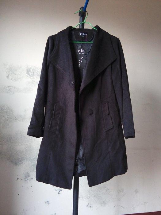 全新 羊絨呢黑色長大衣XL (絨毛外套 絨毛大衣 絨布外套 絨布大衣 毛呢外套 毛呢大衣 中大尺碼)