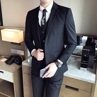 優美宅正韓西服Mens Suit Slim Fit 3 Piece Men Suits Groom Wedding Suit