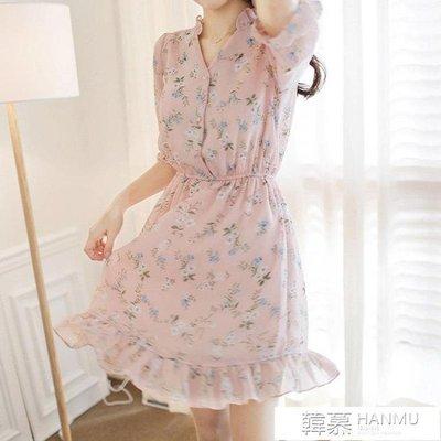 洋裝 春夏碎花雪紡連身裙女韓版氣質顯瘦中長款印花裙子