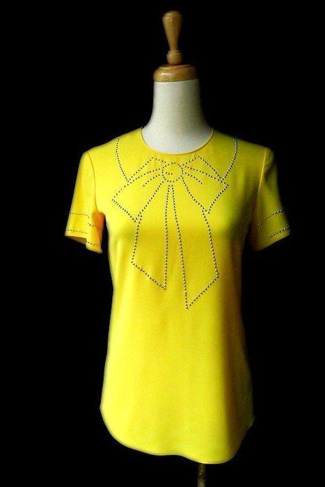 *Beauty*MOSCHINO黃色鉚釘蝴蝶結短袖襯衫I36號 6800   元WE18
