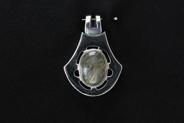 淳玉晶品坊~設計款~天然髮晶墬子~手工製銀墬~清透少冰霧~超個性款~925純銀墬子