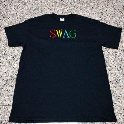 歐美 SWAG 電繡 RAINBOW 短T CAKE翻玩 嘻哈 饒舌 MJF BCW 黑白灰 3色 大尺碼有福!尺寸:S~3XL