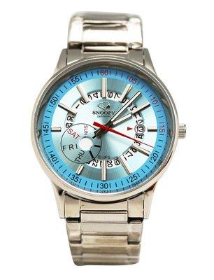 【卡漫迷】 Snoopy 手錶 日期功能 藍 ㊣版 日曆 不銹鋼 強化水晶玻璃 史努比 女錶 史奴比 七折出清
