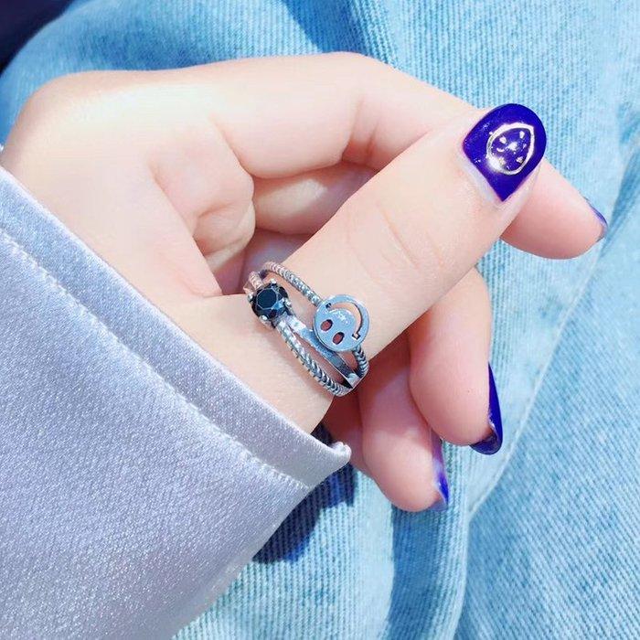 Lissom韓國代購~美姿雅時尚復古S925銀笑臉戒指時尚個性簡約氣質女可調節銀指環