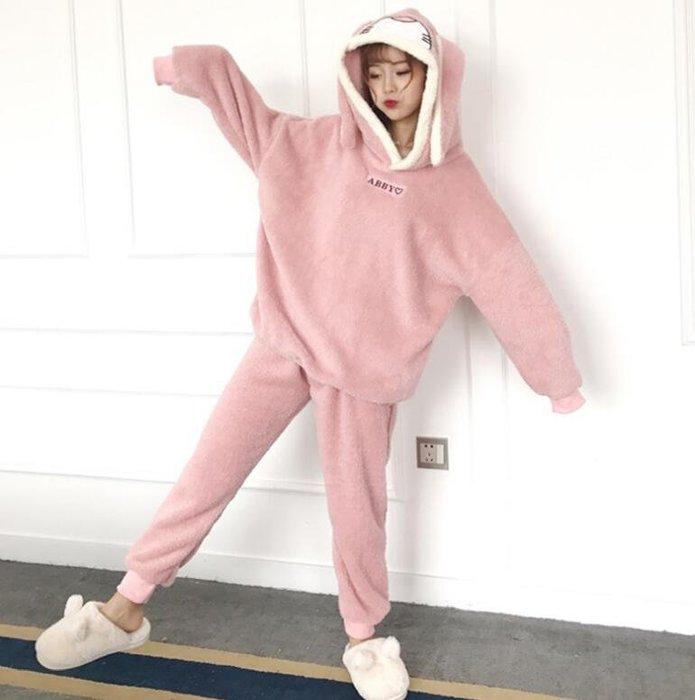 睡衣 套裝 韓版加厚毛絨可愛兔耳朵寬松連帽睡衣睡褲兩件套 居家服套裝 閨蜜裝—莎芭