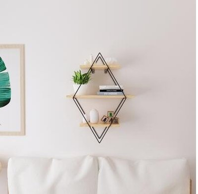 簡約現代實木牆上置物架客廳電視牆置物架壁掛一字擱板隔板架【小號長60 *寬22 *高80cm】