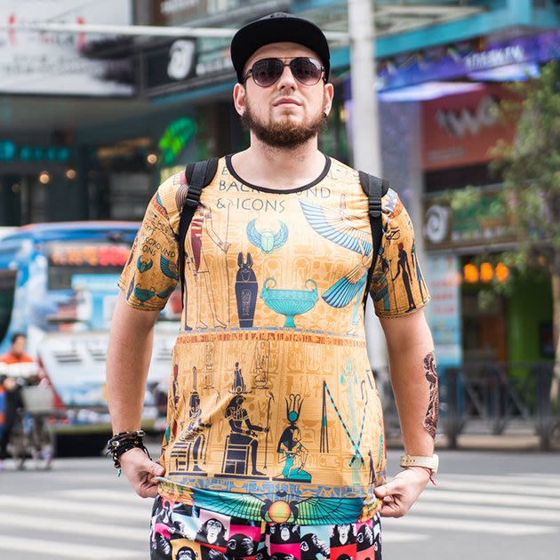 FINDSENSE品牌監製 大尺碼男裝 時尚潮流大碼男裝短袖T恤薄款個性3D印花短袖夏季男大尺碼寬鬆透氣T恤速乾排汗T