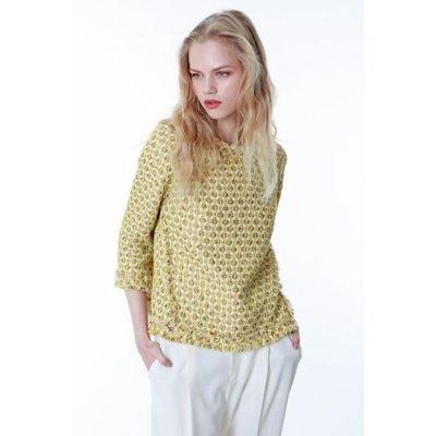 全新日本製GRACE CONTINENTAL 小香毛呢風黃色繫上衣  原價四萬多日幣jp