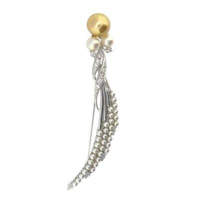 【JHT金宏總珠寶/GIA鑽石專賣】天然珍珠鑽石胸針(JB45-A13)