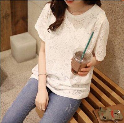 夏款韩版半袖女装大码宽松短袖圆领T恤镂空蕾丝雪纺休闲百搭上衣