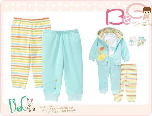 【B& G童裝】正品美國進口GYMBOREE大象圖樣藍黃條紋2件一組長褲12-18mos