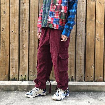 【inSAne】韓國購入 / 斜紋布 / 綁帶 / 口袋 / 工作褲 / 單一尺寸 / 酒紅
