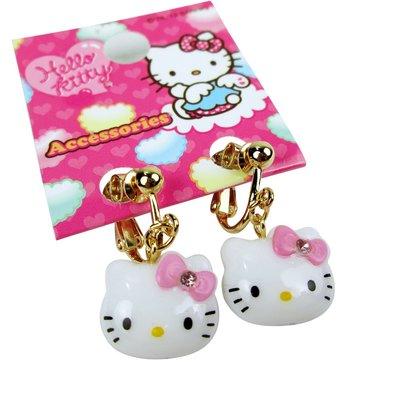 【卡漫迷】 Hello Kitty 耳環 大臉 ㊣版 凱蒂貓 韓版 女孩 扮家家酒 首飾 配件 耳夾 兒童飾品