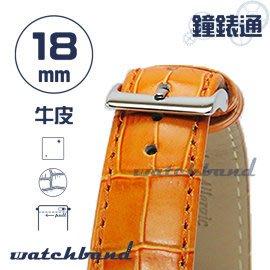 【鐘錶通】C1.25I《亮彩系列-手拉錶耳》鱷魚格紋-18mm 橙橘┝手錶錶帶/皮帶/牛皮錶帶┥
