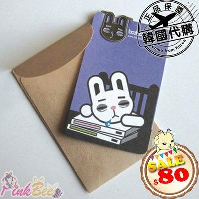 PinkBee☆【韓國代購】BookFriends Mini BookMark Card用功 貪吃 瞌睡兔迷你書籤*現貨