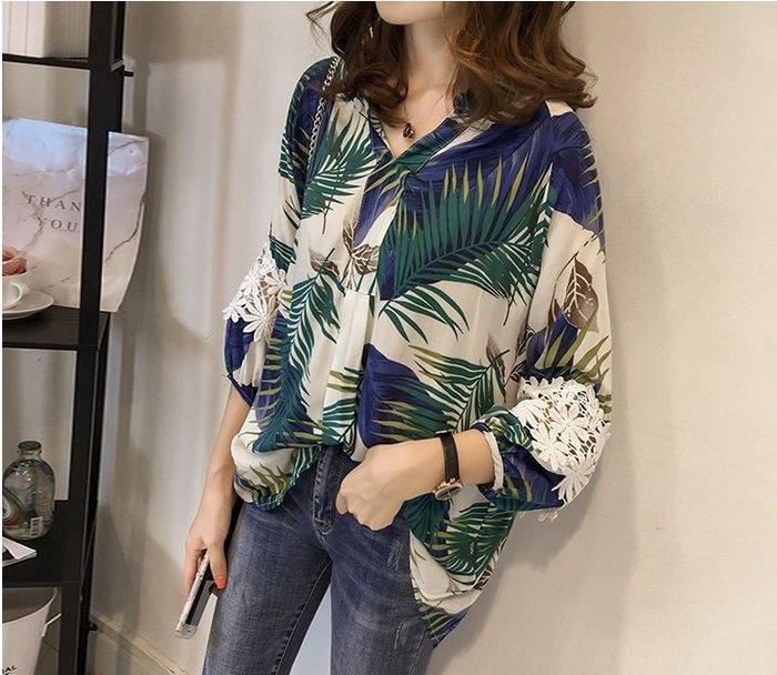 《現貨》南海風七分袖鉤花蕾絲襯衫18C140604