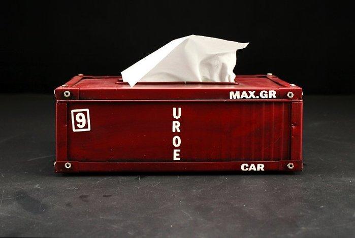 逸飛复古美式铁皮集装箱模型纸巾盒餐巾抽纸盒茶几装饰品摆件(兩色可選)