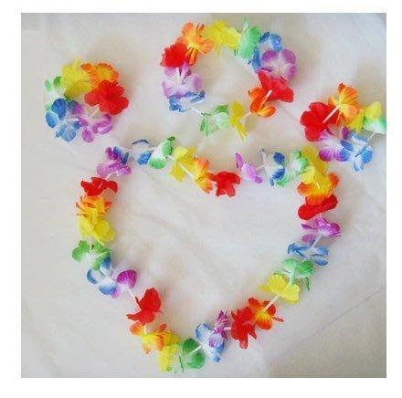 ((麻辣館))夏威夷草裙舞03016款頭環+花圈+一對手環4件套~