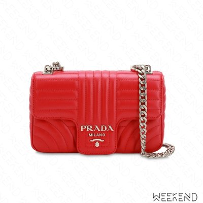 【WEEKEND】 PRADA Small Quilted 小款 壓紋 皮革 掀蓋 肩背包 紅色 18秋冬