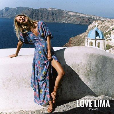 【Love Lima 】Spell正品藍色浪漫花朵V領短袖長洋裝 連身裙 渡假 孫芸芸 百搭  B3424