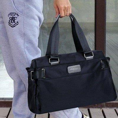 ZIHOPE 尼龍帆布韓版潮流男包商務休閒旅行包男士手提包單肩斜背包包橫款ZI812