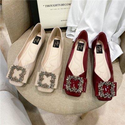 露露的女鞋店方頭平底單鞋女2020秋款新女鞋水鉆淺口軟底時尚瓢鞋