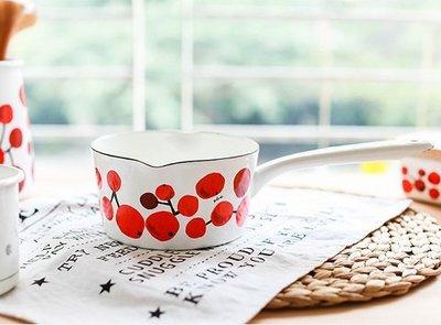 鄉村雜貨小市集*zakka 日雜款紅果實琺瑯鍋單手鍋牛奶鍋