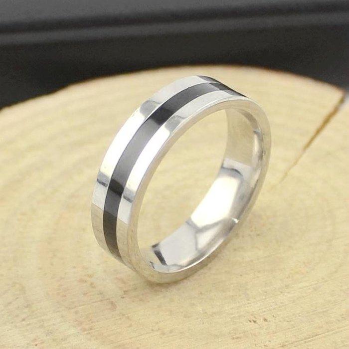 正韓時尚黑色滴油戒指潮流男士單身戒指指環